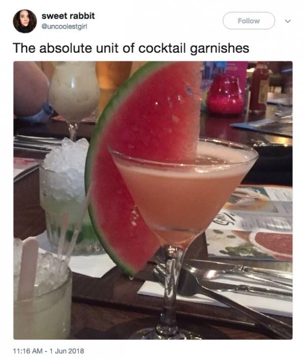 Absolute unit, cocktail garnish, watermelon