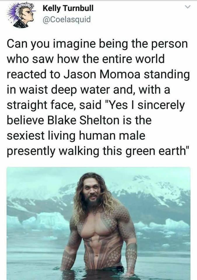 "Rando meme about Aquaman with a funny tweet that reads, ""Can you image being the person who saw how the entire world reacted to Jason Momoa standing in waist-deep water and, wit a straight face said, 'Yes I sincerely believe Blake Shelton is the sexiest living human male presently walking this green earth'"" above a still of Jason Momoa in 'Aquaman'"