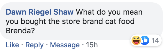 Text - Dawn Riegel Shaw What do you mean you bought the store brand cat food Brenda? 14 Like Reply Message 15h