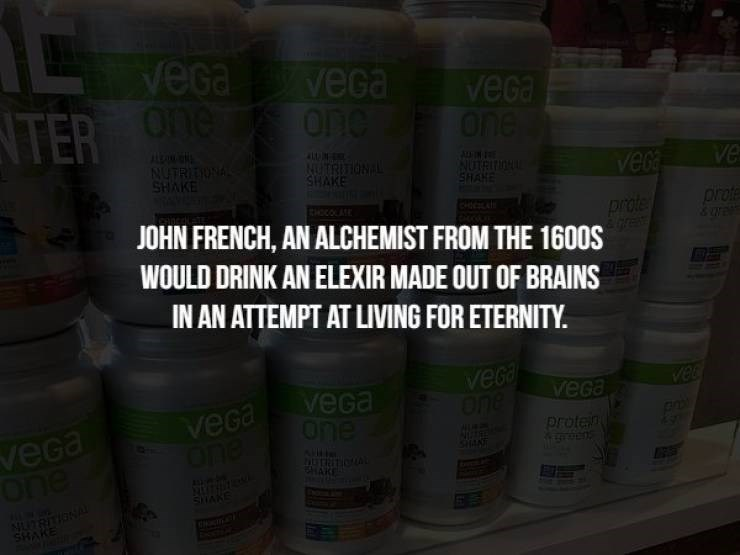 Product - veGa veGa veGa One NTER Ohe AL NUTRITIONAL SHAKE NUTRI ONA SHAKE ve veda NUTRI SHAHE profe EHOCOAE prote JOHN FRENCH, AN ALCHEMIST FROM THE 1600S WOULD DRINK AN ELEXIR MADE OUT OF BRAINS IN AN ATTEMPT AT LIVING FOR ETERNITY. veGa one veca one veGa veGa One veca one Proten HAN A ARE SNAKE SHAKE