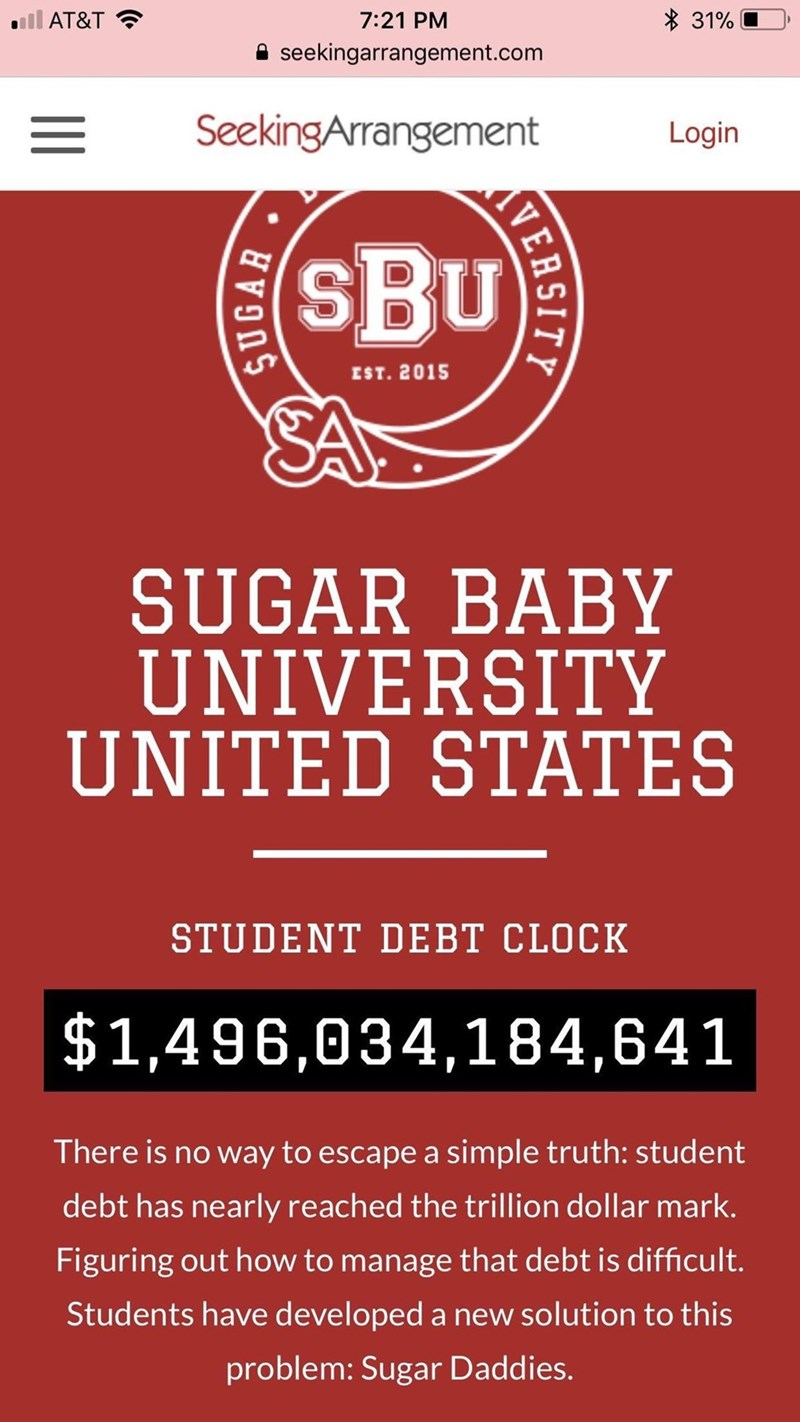 """Funny advertisement for """"Sugar Baby University"""" stating the amount of student debt in the United States"""