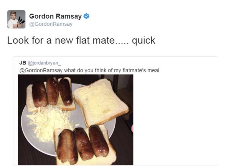 food critique - Product - Gordon Ramsay @GordonRamsay Look for a new flat mate.... quick JB @jordanbryan @GordonRamsay what do you think of my flatmate's meal