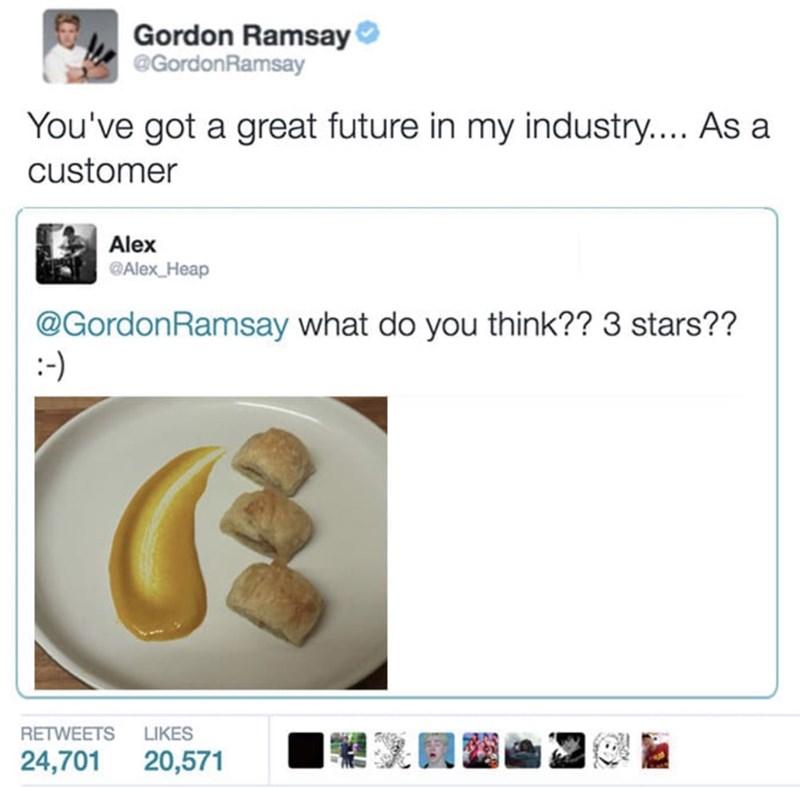 food critique - Text - Gordon Ramsay @GordonRamsay You've got a great future in my industry.... As a customer Alex Alex Heap @GordonRamsay what do you think?? 3 stars?? RETWEETS LIKES 24,701 20,571