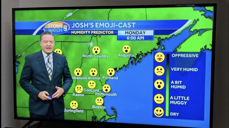 Electronics - STORM JOSH'S EMOJI-CAST WATCH HUMIDITY PREDICTOR MONDAY 6:00 AM Augusta North Country OPPRESSIVE VERY HUMID ebanonLaconia Portland A BIT HUMID Concord Portsmouth Keene A LITTLE MUGGY Boston Springfield DRY :0