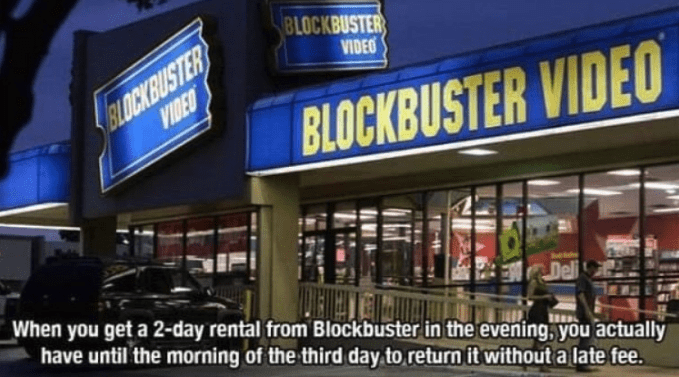 Building - BLOCKBUSTER BLOCKBUSTER VIDEO VIDEO BLOCKBUSTER VIDEO When you get a 2-day rental from Blockbuster in the evening, you actually Deli have until the morning of the third day to return it without a late fee.