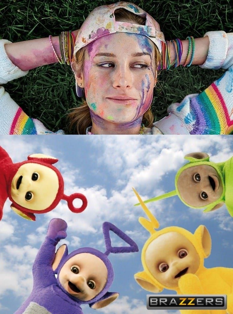 Dirty porn meme about teletubbies, brazzers, woman with colorful liquid on her face.
