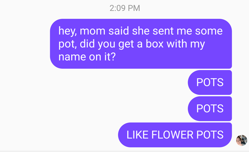shitpost - Text - 2:09 PM hey, mom said she sent me some pot, did you get a box with my name on it? POTS POTS LIKE FLOWER POTS