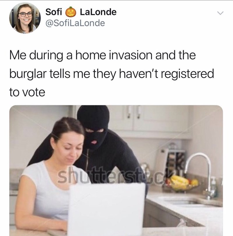 shitpost - Product - Sofi LaLonde A @SofiLaLonde Me during a home invasion and the burglar tells me they haven't registered to vote shutter steck