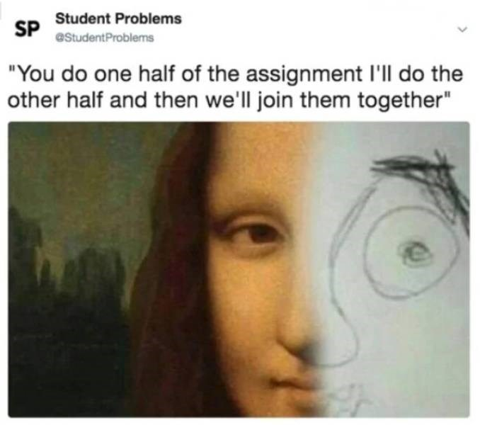 """college meme - Face - Student Problems SP eStudentProblems """"You do one half of the assignment I'll do the other half and then we'll join them together"""""""