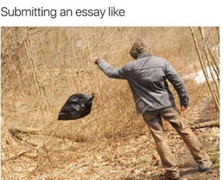college memes - college meme - Outerwear - Submitting an essay like