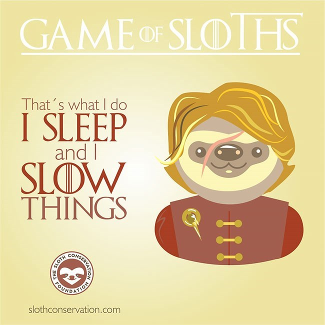 Text - GAME OF SLOHS That's what I do I SLEEP and I SLOW THINGS REATES IO slothconservation.com 111 RVATION SHFOU SLOTH