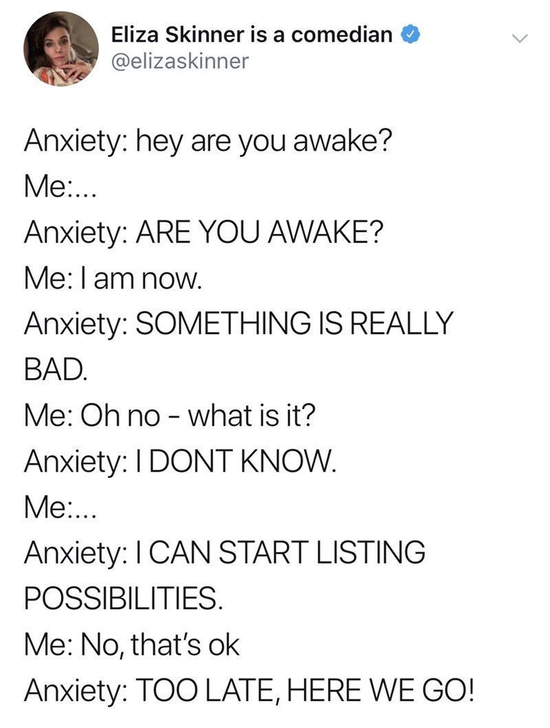 good tweets - Text - Eliza Skinner is a comedian @elizaskinner Anxiety: hey are you awake? Me... Anxiety: ARE YOU AWAKE? Me: am noW. Anxiety: SOMETHING IS REALLY BAD. Me: Oh no - what is it? Anxiety: I DONT KNOW. Me... Anxiety: I CAN START LISTING POSSIBILITIES. Me: No, that's ok Anxiety: TOO LATE, HERE WE GO!