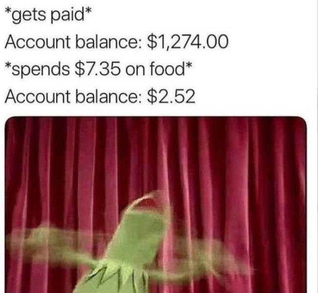 infuriating pics - Pink - *gets paid* Account balance: $1,274.00 *spends $7.35 on food* Account balance: $2.52