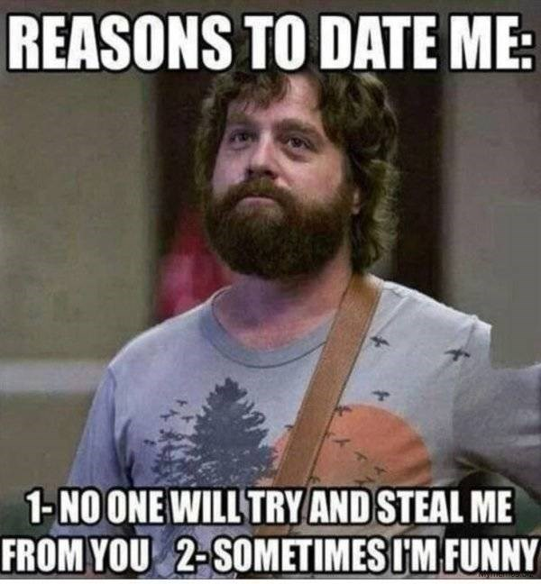 dating meme - Facial hair - REASONS TO DATE ME 1-NO ONE WILL TRY AND STEAL ME FROM YOU 2-SOMETIMES IM FUNNY uyarreAD