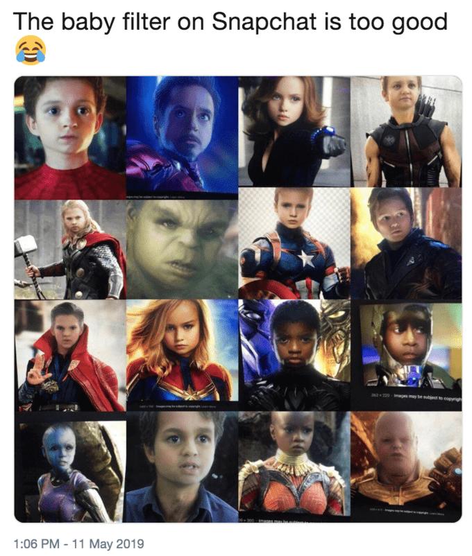Snapchat baby filter - Avengers