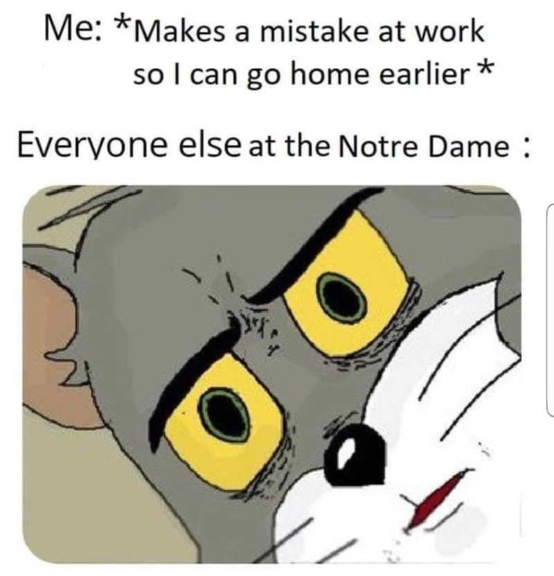 dank memes - Cartoon - Me: *Makes a mistake at work ol can go home earlier Everyone else at the Notre Dame