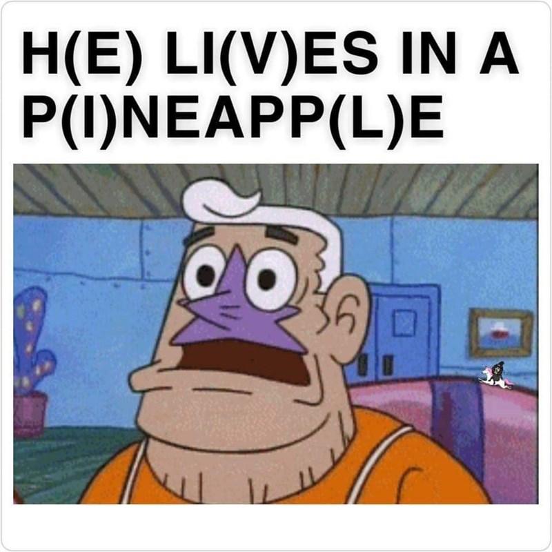 dank memes - Animated cartoon - H(E) LI(V)ES IN A P(I)NEAPP(L)E