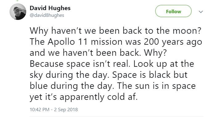 Funny Twitter thread about the moon landings being a hoax