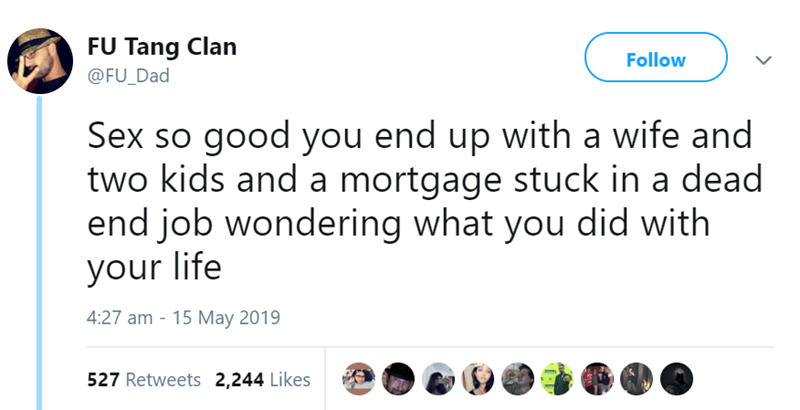 Text - FU Tang Clan @FU_Dad Follow Sex so good you end up with a wife and two kids and a mortgage stuck in a dead end job wondering what you did with your life 4:27 am 15 May 2019 527 Retweets 2,244 Likes