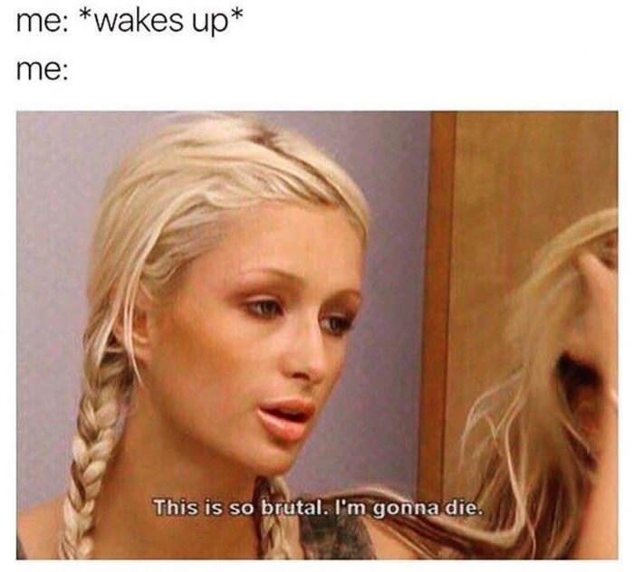 meme - Hair - me: *wakes up* me: This is so brutal. I'm gonna die