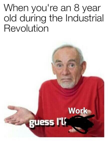 meme - Text - When you're an 8 year old during the Industrial Revolution Work guess I'l
