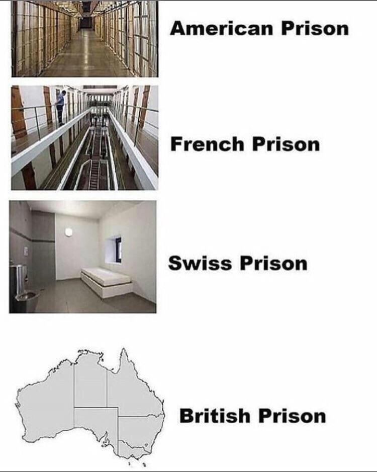 meme - American Prison French Prison Swiss Prison British Prison