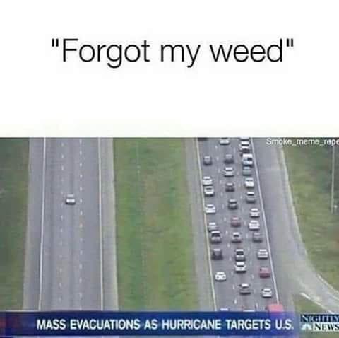"Text - ""Forgot my weed"" Smoke meme repe INIGHTN MASS EVACUATIONS AS HURRICANE TARGETS U.S.NEWS"