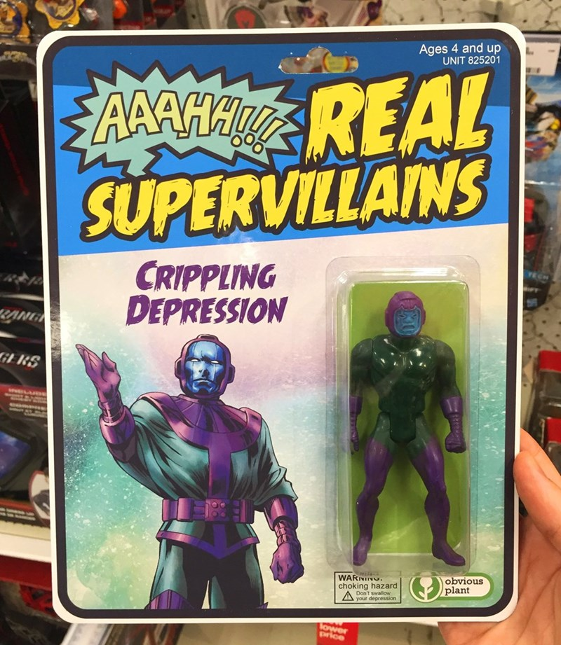Action figure - Ages 4 and up UNIT 825201 AAAHAREAL SUPERVILLAINS CRIPPLING DEPRESSION RANG GERS WARNING choking hazard Don't swallow obvious plant your depression lower price