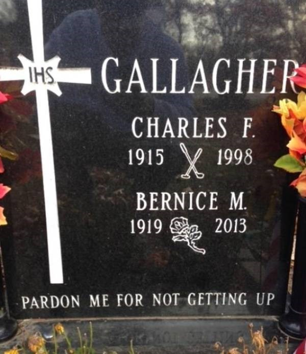 Grave - GALLAGHER CHARLES F 1915 1998 BERNICE M. 2013 1919 PARDON ME fOR NOT GETTING UP