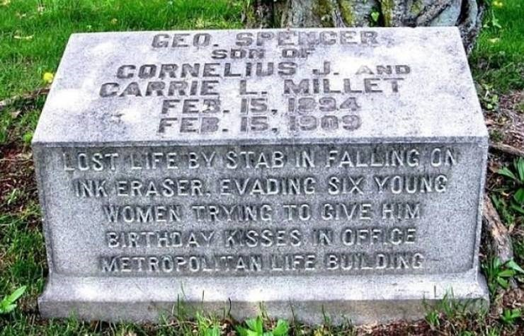 Headstone - BER GEO SP Son CORNELIVE LET CARRIE s. ND MI FEB. 15, OLOST LIFE BY STAB IN FALLING ON INK ERASER EVADING SIX YOUNE WOMEN TRYING TO GIVE HIM BIRTHDAY KSSES IN OFFICE METROPOLAN LIFE BUILDING