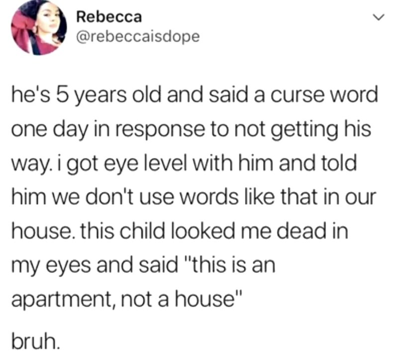 """Text - Rebecca @rebeccaisdope he's 5 years old and said a curse word one day in response to not getting his way. i got eye level with him and told him we don't use words like that in our house. this child looked me dead in my eyes and said """"this is an apartment, not a house"""" bruh."""