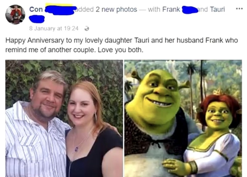 Funny Facebook post where someone compares a couple they know to Shrek and Fiona