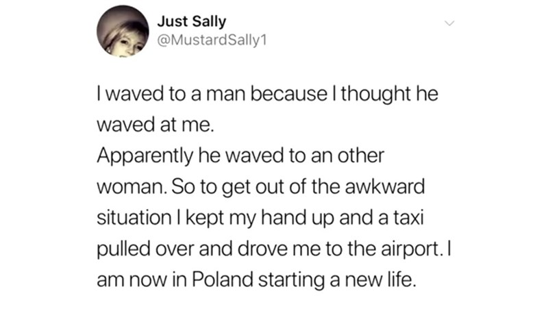Text - Just Sally @MustardSally1 I waved to a man because I thought he waved at me. Apparently he waved to an other woman. So to get out of the awkward situation I kept my hand up and a taxi pulled over and drove me to the airport.I am now in Poland starting a new life.