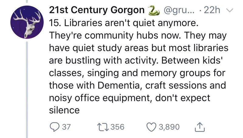 Twitter thread about interesting library facts