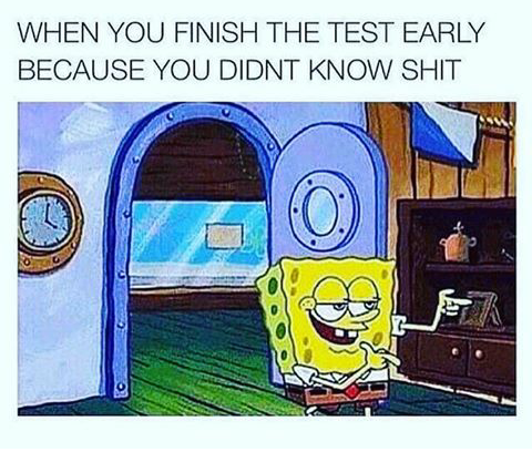 spongebob meme - Cartoon - WHEN YOU FINISH THE TEST EARLY BECAUSE YOU DIDNT KNOW SHIT