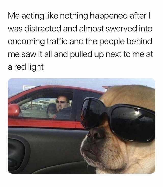 dank memes - Vehicle door - Me acting like nothing happened after was distracted and almost swerved into oncoming traffic and the people behind me saw it all and pulled up next to me at a red light