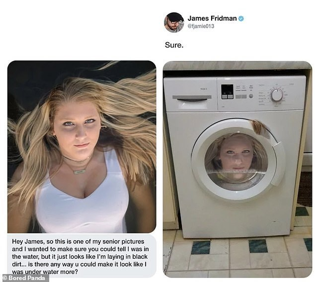 Major appliance - James Fridman @fjamie013 Sure. Hey James, so this is one of my senior pictures and I wanted to make sure you could tell I was in the water, but it just looks like l'm laying in black dir... is there any way u could make it look like I was under water more? Bored Panda