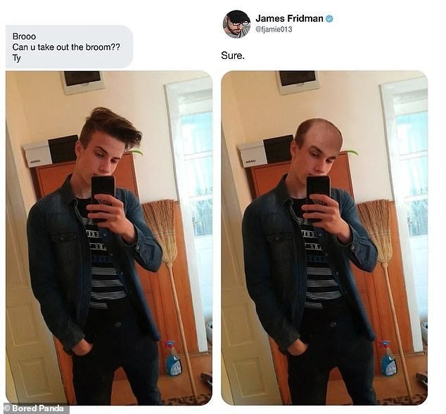 Clothing - James Fridman @fjamie013 Brooo Can u take out the broom?? Sure. Тy Bored Pandla