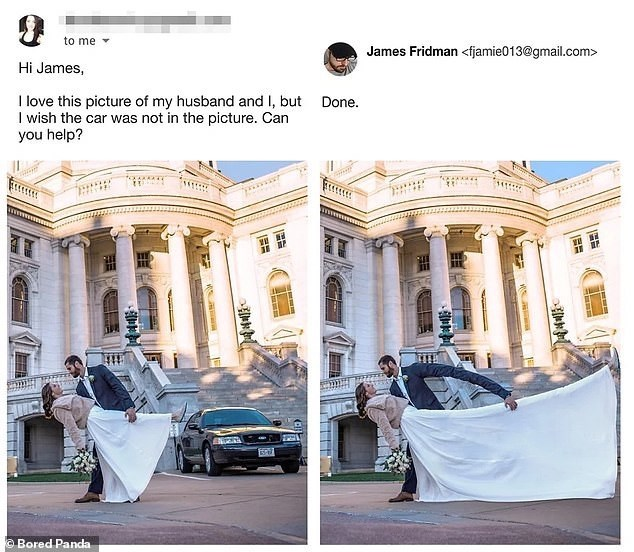 Product - to me James Fridman <fjamie013@gmail.com> Hi James, I love this picture of my husband and I, but I wish the car was not in the picture. Can you help? Done. उर्प OBored Panda