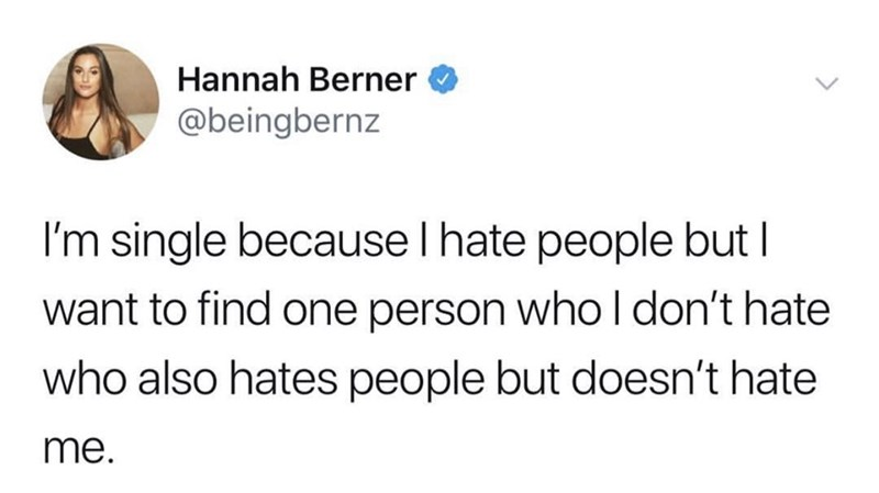 dank memes - Text - Hannah Berner @beingbernz I'm single because I hate people but I want to find one person who I don't hate who also hates people but doesn't hate me.