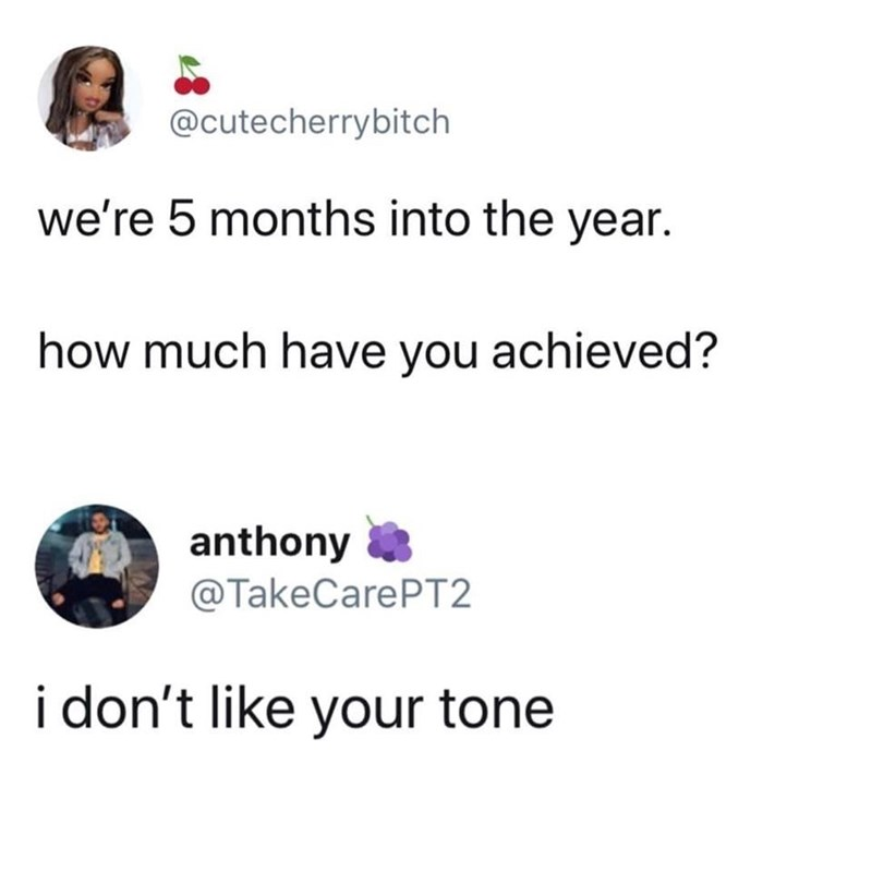 dank memes - Text - @cutecherrybitch we're 5 months into the year. how much have you achieved? anthony @TakeCarePT2 i don't like your tone