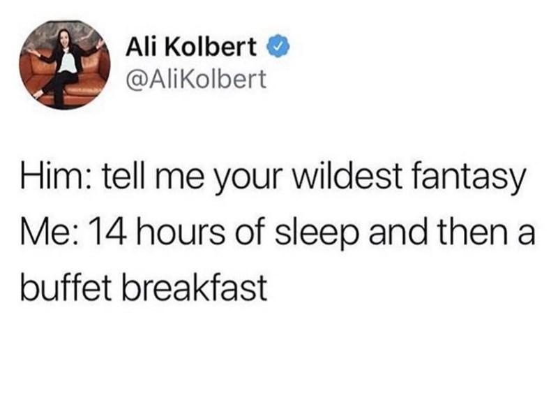 dank memes - Text - Ali Kolbert @AliKolbert Him: tell me your wildest fantasy Me: 14 hours of sleep and then a buffet breakfast