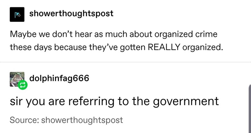Text - showerthoughtspost Maybe we don't hear as much about organized crime these days because they've gotten REALLY organized. dolphinfag666 sir you are referring to the government Source: showerthoughtspost