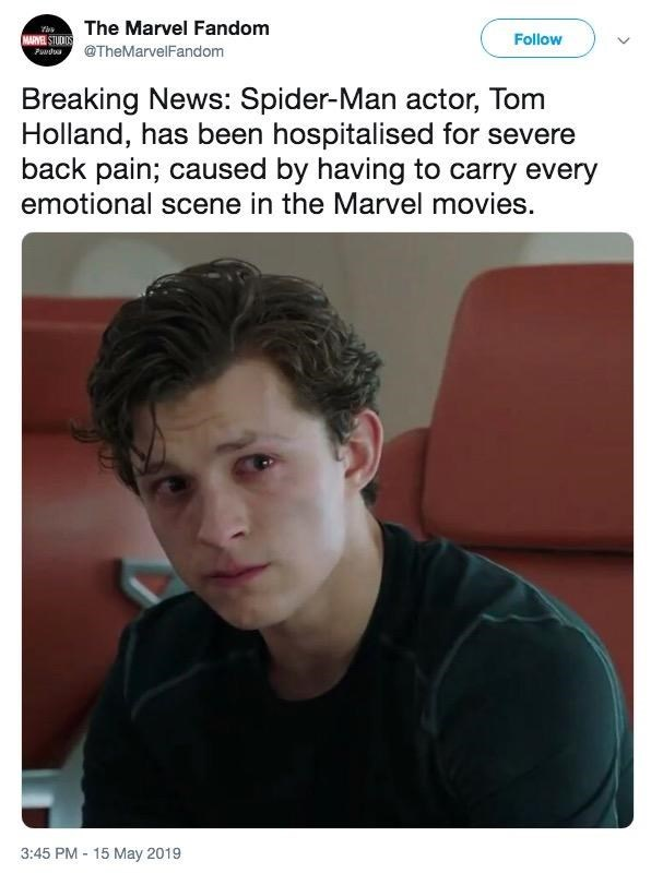 Funny meme about people who have 'severe back pain' from carrying all the weight - Tom Holland, Spider Man
