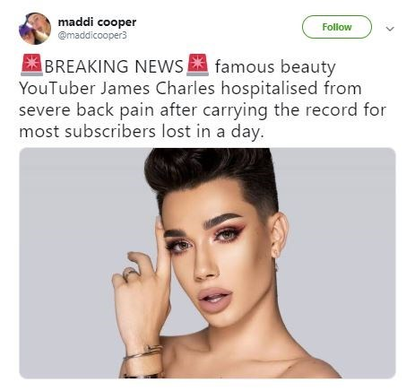Funny meme about people who have 'severe back pain' from carrying all the weight - James Charles