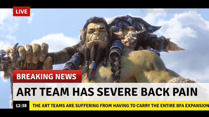 Funny meme about people who have 'severe back pain' from carrying all the weight - BFA expansion