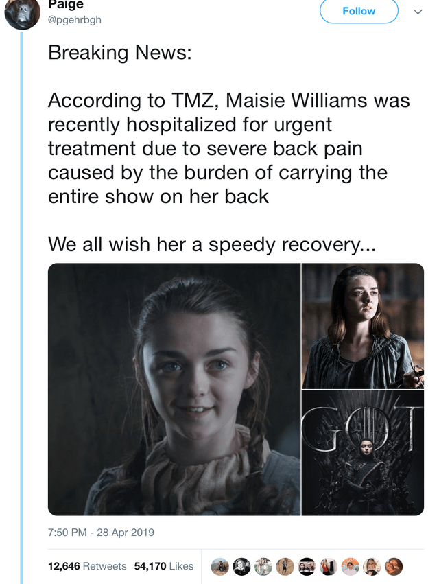 Funny meme about people who have 'severe back pain' from carrying all the weight - Arya Stark, Game of Thrones