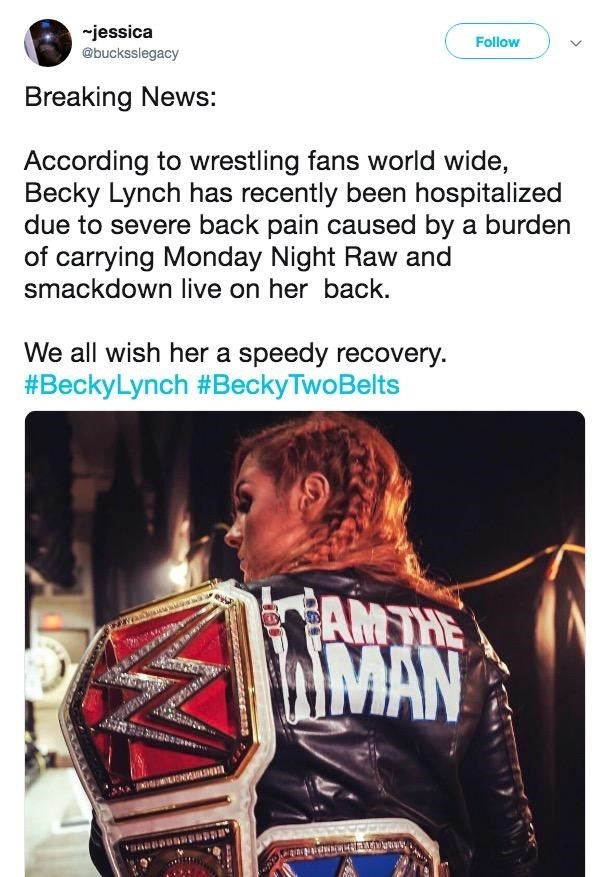 Funny meme about people who have 'severe back pain' from carrying all the weight - Becky Lynch