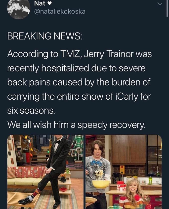 Funny meme about people who have 'severe back pain' from carrying all the weight - iCarly