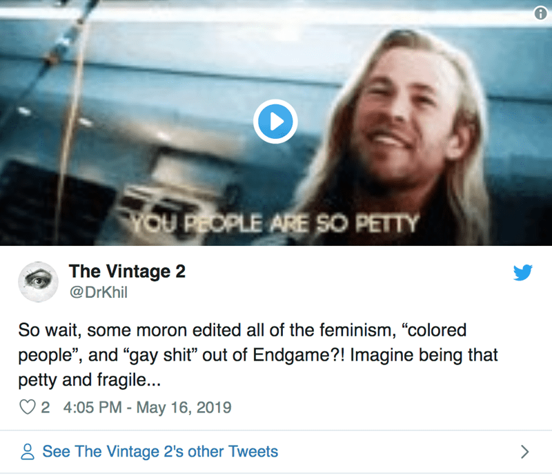 """Text - TOU PEOPLE ARE SO PETTY The Vintage 2 @DrKhil So wait, some moron edited all of the feminism, """"colored people"""", and """"gay shit"""" out of Endgame?! Imagine being that petty and fragile... 2 4:05 PM - May 16, 2019 See The Vintage 2's other Tweets"""